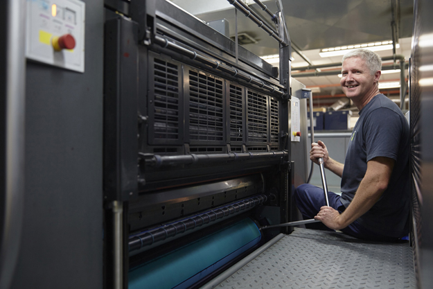 Offset printing at Advance Press is monitored at every stage